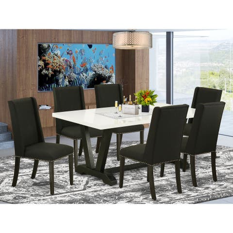 East West Furniture Dining Set Included Parson Chair and Rectangular Linen White Table-Wirebrushed Black Finish-FL624