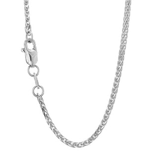 Mcs Jewelry Inc  14 KARAT WHITE GOLD SQUARE WHEAT CHAIN NECKLACE (1.8MM)