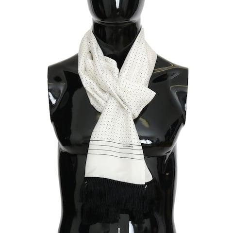 Dolce & Gabbana White Polka Dotted Silk Fringes Men's Scarf - One Size