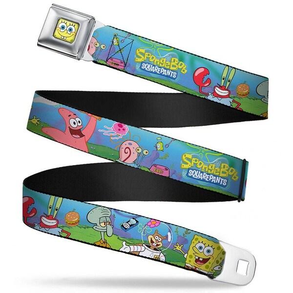 Sponge Bob Face Close Up Sponge Bob And Friends Logo Webbing Seatbelt Belt Seatbelt Belt