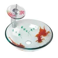 Bathroom Glass Vessel Sink Koi Fish Waterfall Faucet Combo   Renovator's Supply