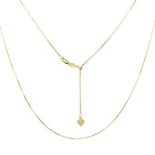 Amanda Rose 14k Yellow Gold Diamond Cut Adjustable Box Chain