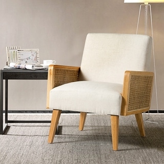 Link to Delphine Upholstered Cane Accent Chair with Rattan Arms Similar Items in Accent Chairs