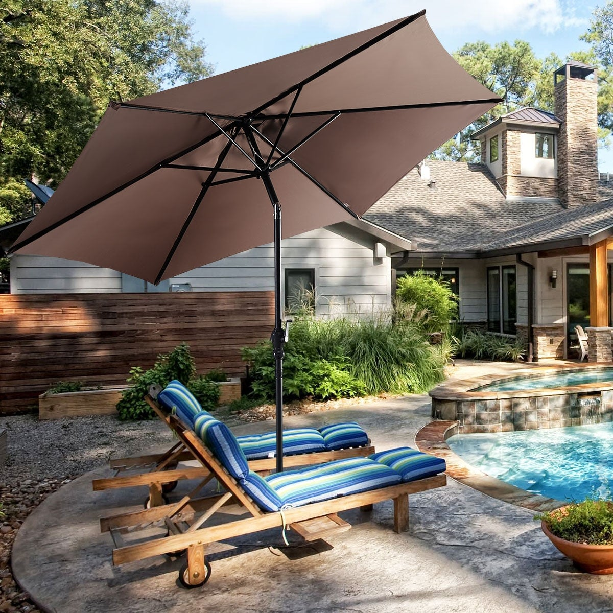 Shop Black Friday Deals On Costway 10ft Patio Umbrella With Crank Tan On Sale Overstock 15935685