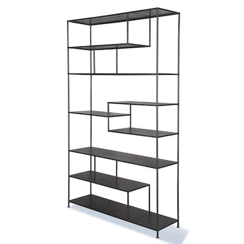 Q-Max Multifunctional Shelving Grey Finish Geometric Silhouette Iron Elements Bookcase