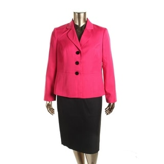 Le Suit Womens Two Tone 3-Button Blazer Skirt Suit