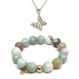 "Julieta Jewelry Set 12mm Green Amazonite Lauren 7"" Stretch Bracelet & 12mm Butterfly CZ Charm 16"" 14k Over .925 SS Necklace"