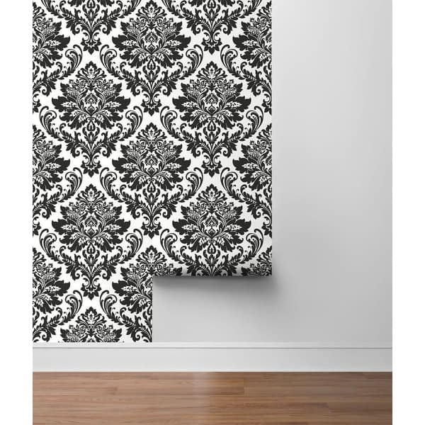 Shop Nextwall Black Damask Peel And Stick Removable Wallpaper 20 5 In W X 18 Ft L Overstock 31758167