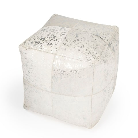 Offex Victorian Square Hair on Hide with Silver Spots Pouffe - White