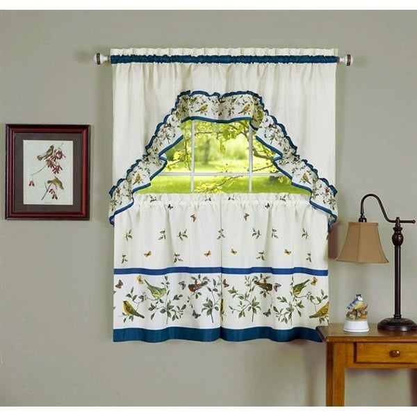 Love Birds Tier and Swag Kitchen Curtain Set, 57x36 and 57x30