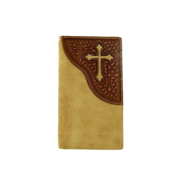 Nocona Western Wallet Mens Cross Leather Rodeo Medium Brown