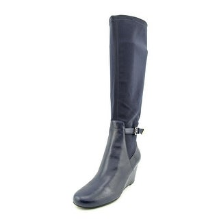 Isaac Mizrahi Krystal Women Round Toe Leather Blue Knee High Boot
