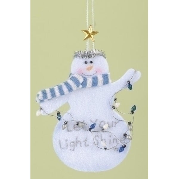 "Club Pack of 12 ""Let Your Light Shine"" Inspirational Snowman Christmas Ornaments - WHITE"