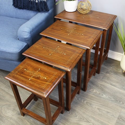 Natural Geo Decorative Set of 4 Nesting Tables - Rectangular