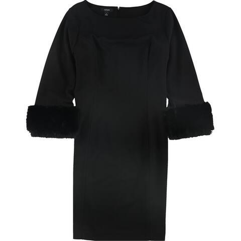 Alfani Womens Faux Fur Trim Shift Dress