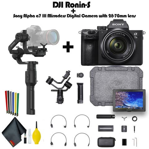 DJI Ronin-S Plus Sony Alpha a7 III Mirrorless Digital Camera with 28-70mm Lens, External Monitor. - Complete Vlogging Kit
