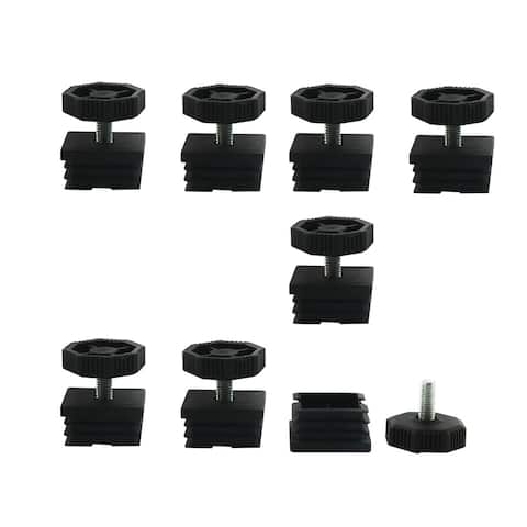 Leveling Feet 38 x 38mm Square Tube Inserts Kit Furniture Glide Adjustable Leveler for Table Sofa Chair Leg 8 Sets