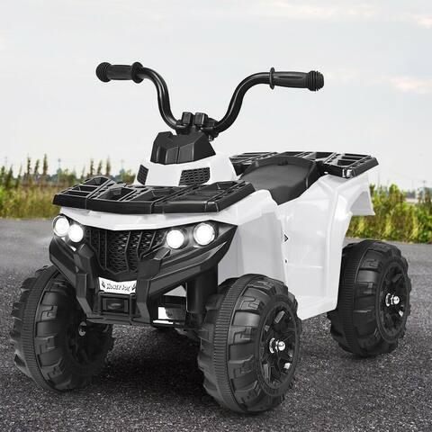6V Battery Powered Kids Electric Ride on ATV-White - White