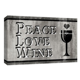 """PTM Images 9-148372  PTM Canvas Collection 8"""" x 10"""" - """"Peace Love Wine"""" Giclee Family Sayings Art Print on Canvas"""