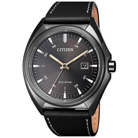 Citizen Men's AW1577-11H 'Eco-Drive' Black Leather Watch