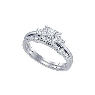 10k White Gold Womens Natural Princess Diamond Halo Bridal Wedding Engagement Ring Set 1/3 Cttw