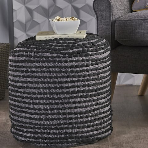 Rococco Handcrafted Fabric Ottoman Pouf by Christopher Knight Home