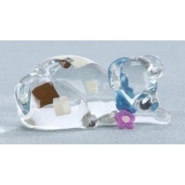 "2.5"" Colorful Abstract Resting Dog Glass Figurine - Clear"