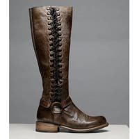 BED STU Womens burnley Leather Almond Toe Knee High Fashion Boots