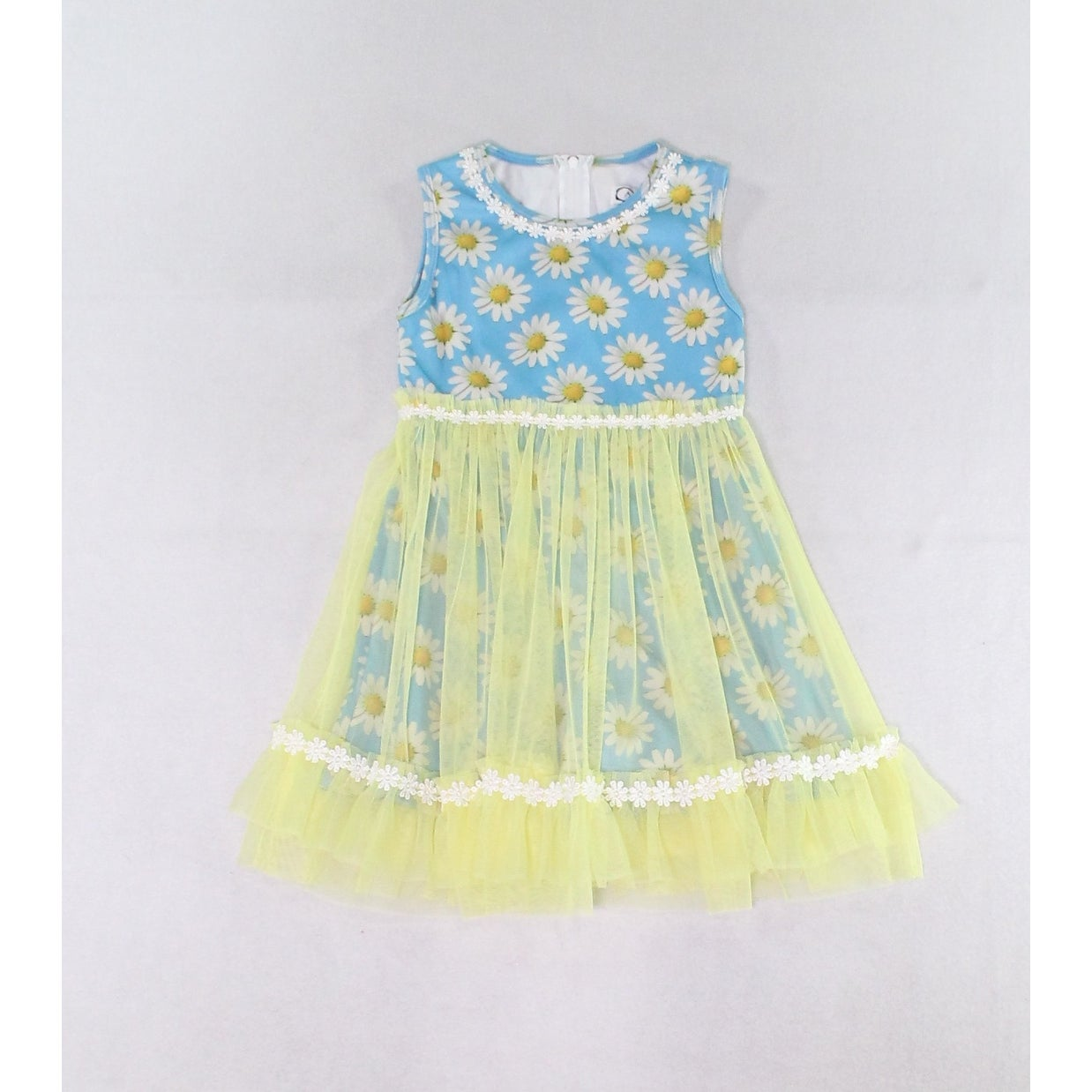 Caeli Girls Dresses Blue Yellows Size 5 Floral Print Mesh Overlay