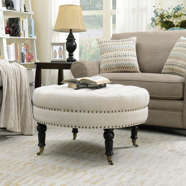 Awe Inspiring Shop Belleze Large Ottoman Cushion Round Tufted Linen Bench Creativecarmelina Interior Chair Design Creativecarmelinacom