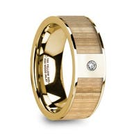 METIS Men's Polished 14k Yellow Gold Wedding Band with Ash Wood Inlay & Diamond - 8mm