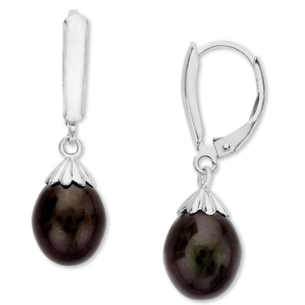 Honora 9-9.5mm Black Freshwater Pearl Drop Earrings in Sterling Silver