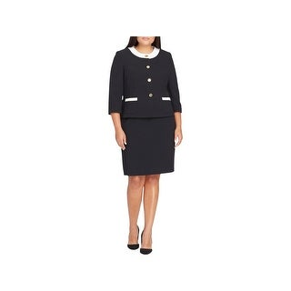 Tahari Womens Plus Skirt Suit Office Wear Elbow Sleeve