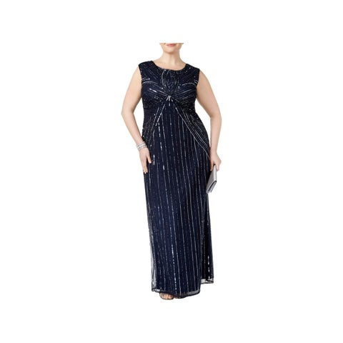 Adrianna Papell Womens Plus Evening Dress Beaded A-Line