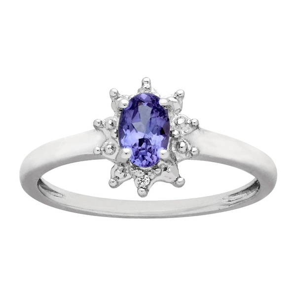 3/8 ct Tanzanite Ring with Diamonds in Sterling Silver - Blue