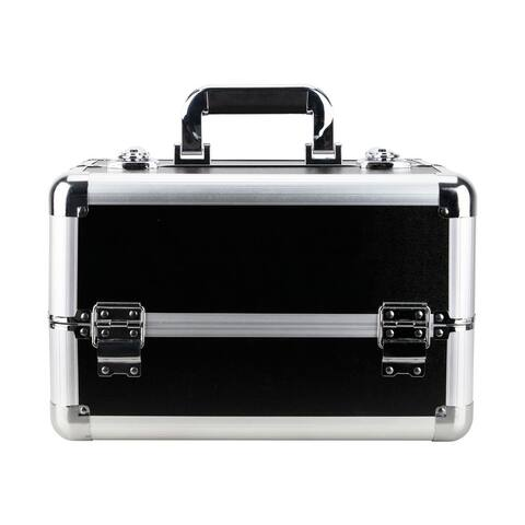 Justcase Black Matte 4 Extendable Tray Cosmetic Makeup Case w/ Divider