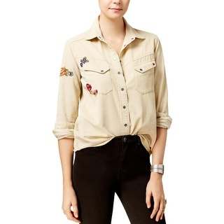 Free People Womens Button-Down Top Corduroy Embroidered