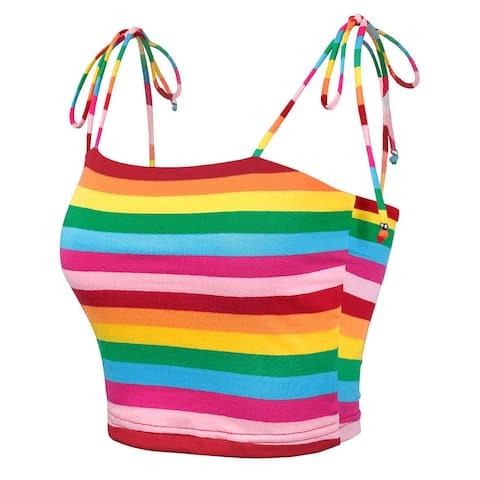 Allegra K Women's Colorful Rainbow Striped Cami Tops Multicolor XL