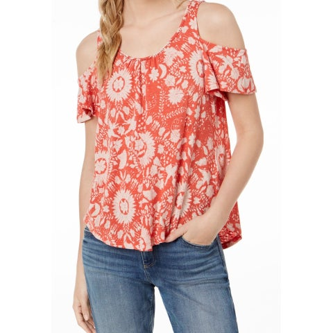 Lucky Brand Orange White Womens Size XS Cold Shoulder Knit Top