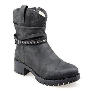 Eyekepper Women's Fully Fur Lined Mid-Calf Slouchy Boot with Multi Buckle Straps Black