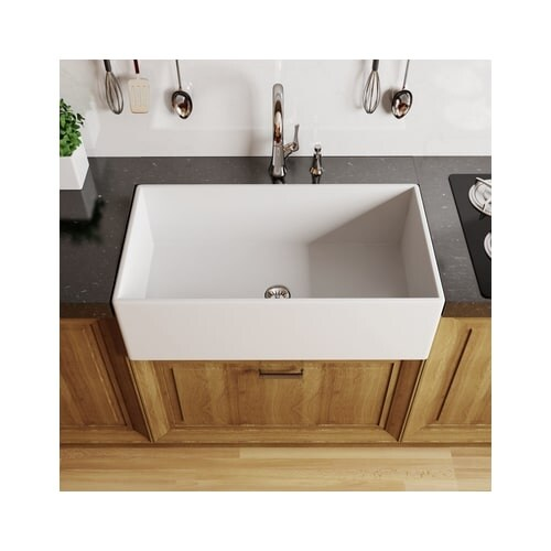 Shop Miseno MFC3016F 30  Single Basin Farmhouse Fireclay Kitchen Sink - Free Shipping Today - Overstock.com - 16417353  sc 1 st  Overstock.com & Shop Miseno MFC3016F 30