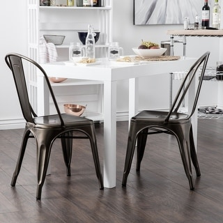 Belleze Set of (4) Metal Chairs Side Dining Steel High Back Counter (Antique Black)