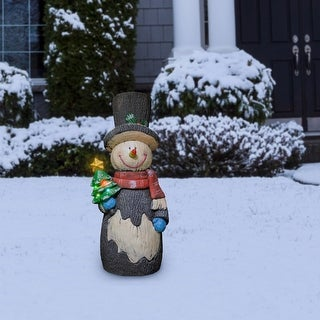 Link to Alpine Solar Snowman Statue, Color Changing LED Lights - Black Similar Items in Christmas Decorations