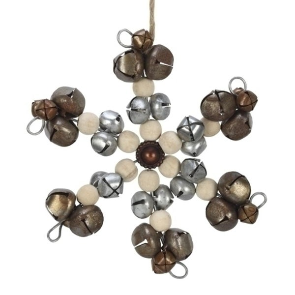"""6.5"""" Natural Effects Jingle Bell and Wood Beaded Snowflake Christmas Ornament"""