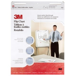 3M Unruled Flip Chart with Bleed-Resistant Paper, 25 x 30 in, White, Pad of 40 Sheets, Pack of 2