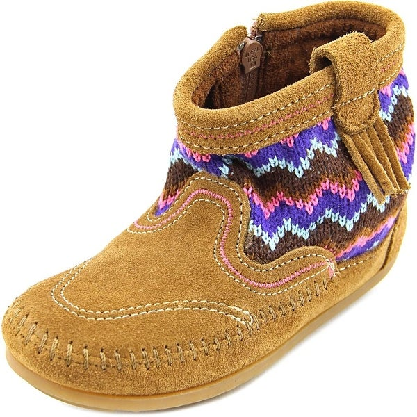 Minnetonka Sweater Bootie Youth Round Toe Suede Brown Ankle Boot