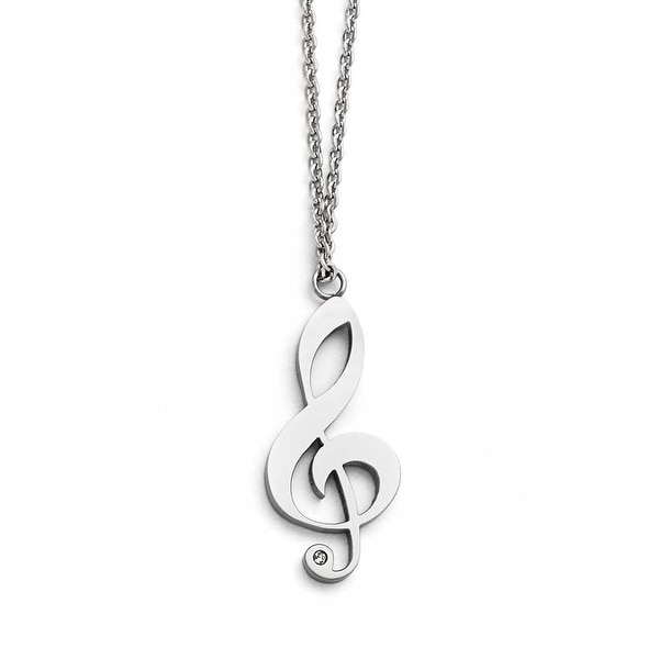 Chisel Stainless Steel Polished Treble Clef with CZ and with .75 inch ext. Necklace - 17 in