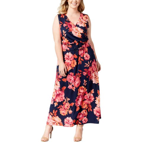 3601d8c12fd NY Collection Womens Plus Maxi Dress Floral Print Sleeveless
