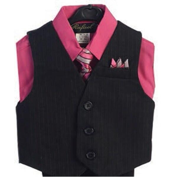 Angels Garment Hot Pink 4 Piece Pin Striped Vest Set Boys Suit 2T-4T