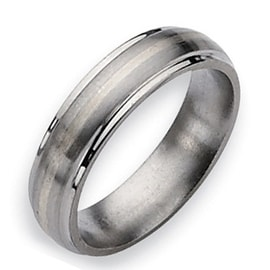 Chisel Silver Inlaid Ridged Edge Brushed and Polished Titanium Ring (6.0 mm)